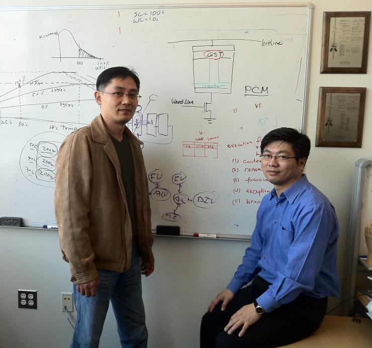 ECE Associate Professor Hsien-Hsin Sean Lee (r) is pictured with his Ph.D. student Nak Hee Seong.