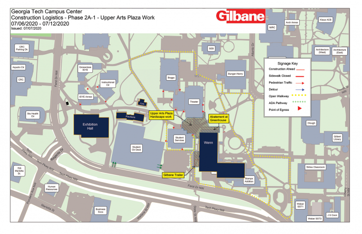 Campus Center Construction Impacts - July 6-12, 2020