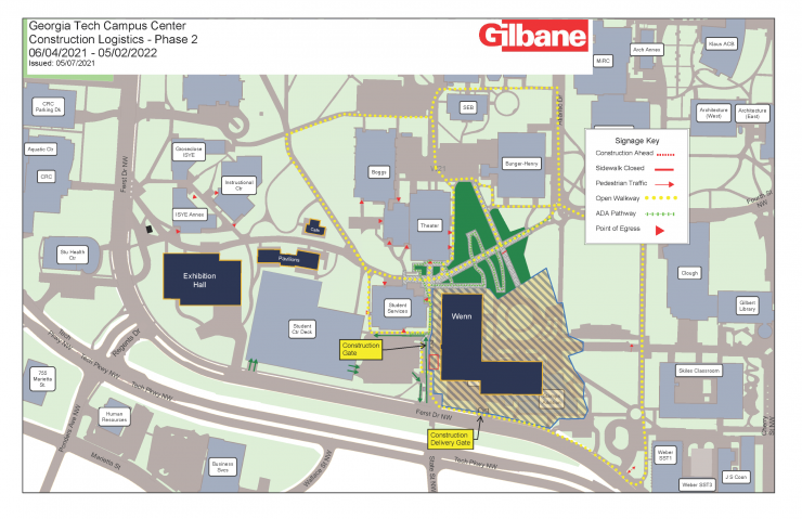 Campus Center Construction Impacts: May 2021 - June 2021