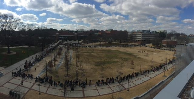 Georgia Tech students line up for tickets to President Obama's Address