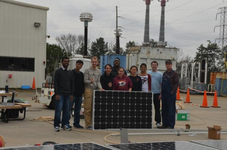 IEEE PES students working with the Haitian microgrid project