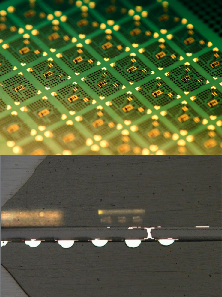 3D IPAC LTE module on large glass panel and its cross-section.