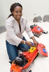 Ayanna Howard works with a SnoMote robot
